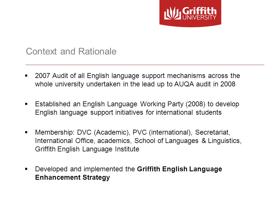 Context and Rationale 2007 Audit of all English language support mechanisms across the whole university undertaken in the lead up to AUQA audit in 200