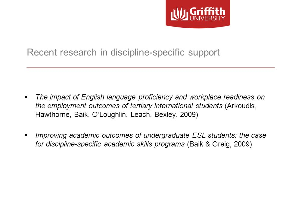 Recent research in discipline-specific support The impact of English language proficiency and workplace readiness on the employment outcomes of tertia