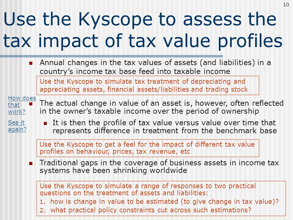 Use the Kyscope to assess the tax impact of tax value profiles Annual changes in the tax values of assets (and liabilities) in a countrys income tax b