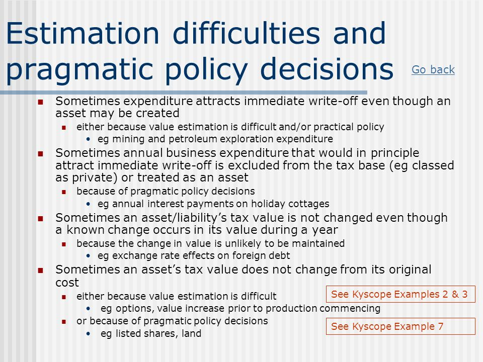 Estimation difficulties and pragmatic policy decisions Sometimes expenditure attracts immediate write-off even though an asset may be created either b