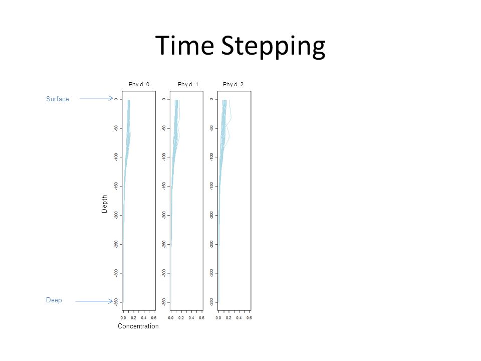 Time Stepping Concentration Depth Phy d=0 Phy d=1Phy d=2 Surface Deep