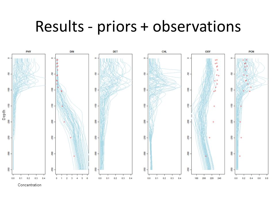Results - priors + observations Concentration Depth