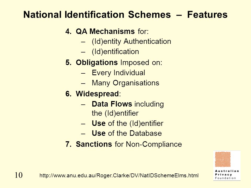 10 National Identification Schemes – Features 4.QA Mechanisms for: –(Id)entity Authentication –(Id)entification 5.Obligations Imposed on: –Every Indiv