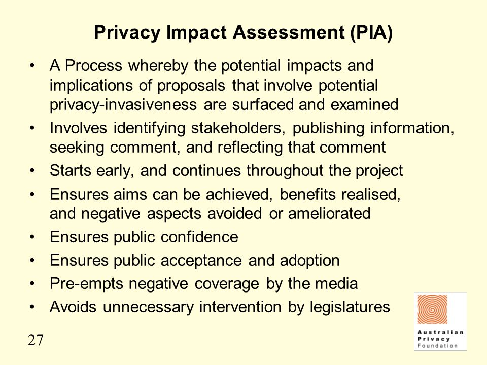 27 Privacy Impact Assessment (PIA) A Process whereby the potential impacts and implications of proposals that involve potential privacy-invasiveness a