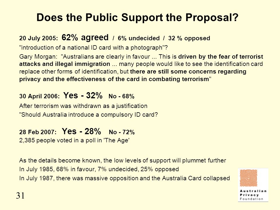 31 Does the Public Support the Proposal? 20 July 2005: 62% agreed / 6% undecided / 32 % opposed