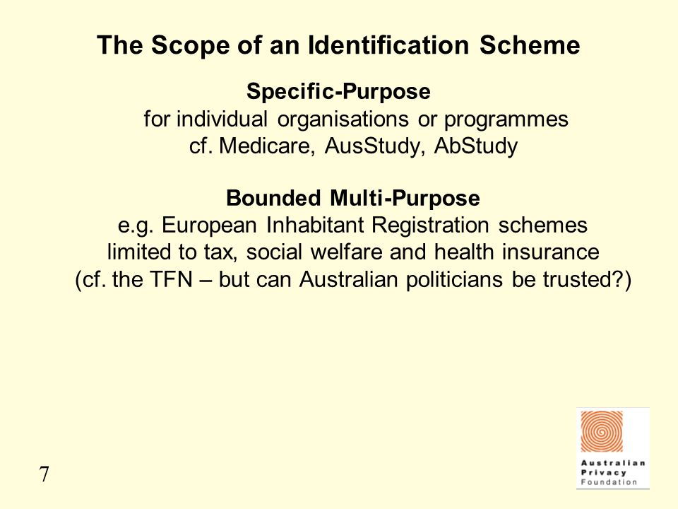 7 The Scope of an Identification Scheme Specific-Purpose for individual organisations or programmes cf. Medicare, AusStudy, AbStudy Bounded Multi-Purp