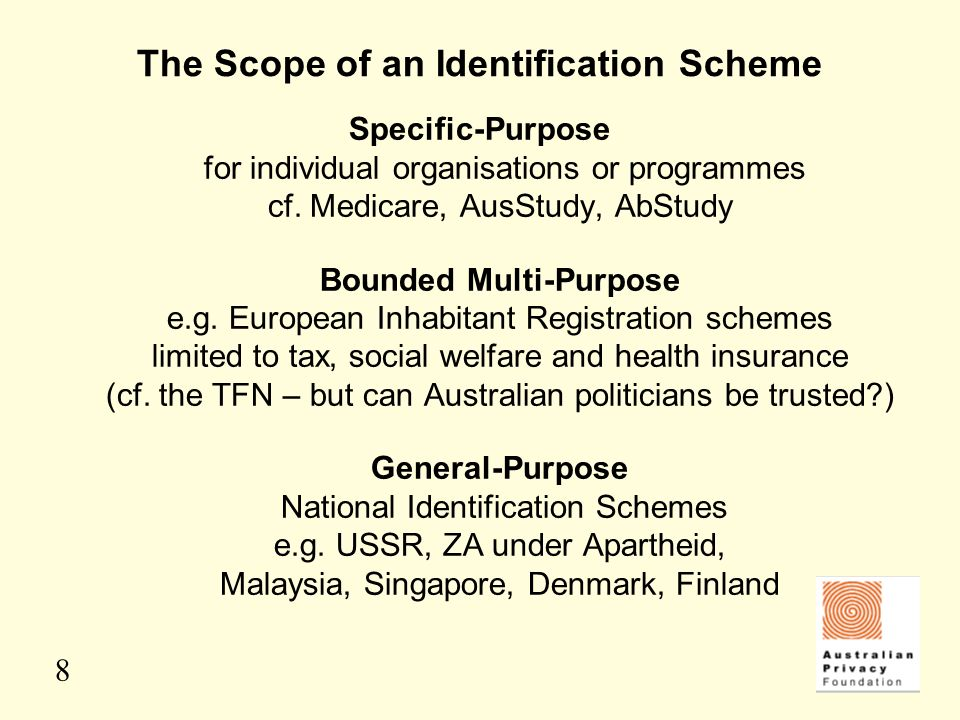 8 The Scope of an Identification Scheme Specific-Purpose for individual organisations or programmes cf. Medicare, AusStudy, AbStudy Bounded Multi-Purp