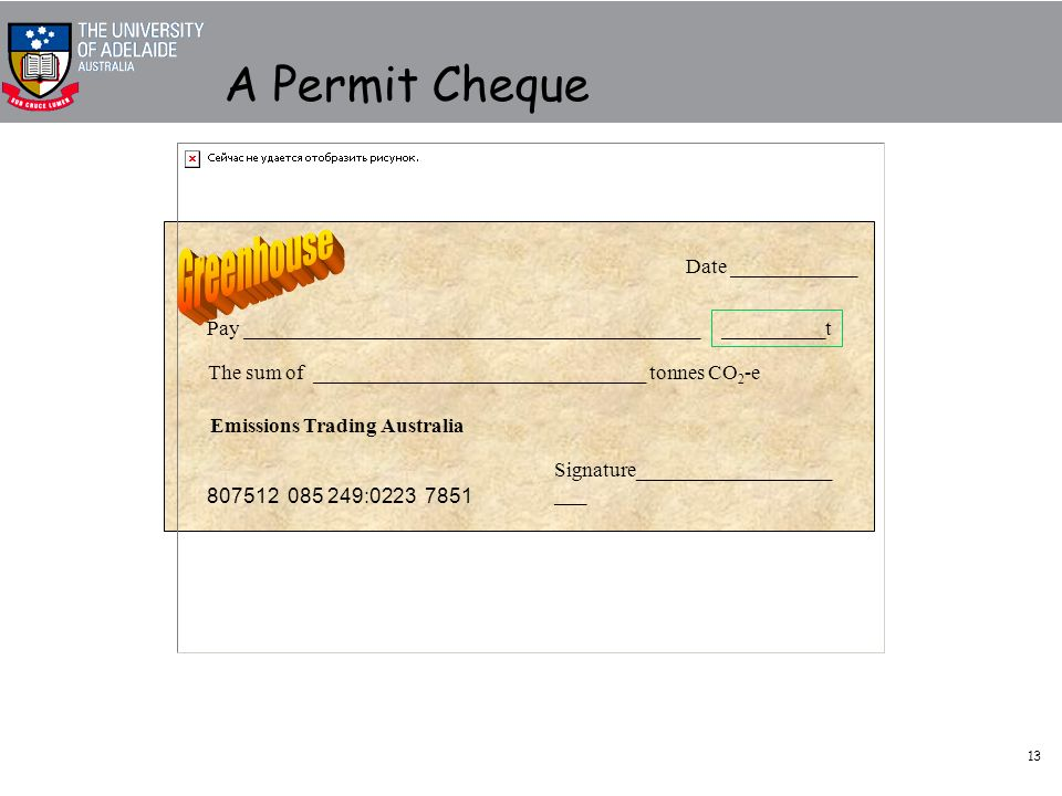 13 A Permit Cheque Pay ____________________________________________ The sum of ________________________________ tonnes CO 2 -e Emissions Trading Australia Signature___________________ ___ 807512 085 249:0223 7851 Date ____________ __________t