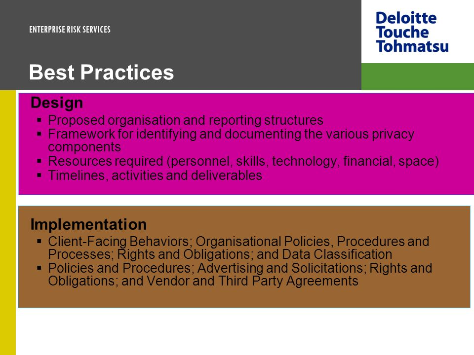 ENTERPRISE RISK SERVICES Best Practices Design Proposed organisation and reporting structures Framework for identifying and documenting the various pr