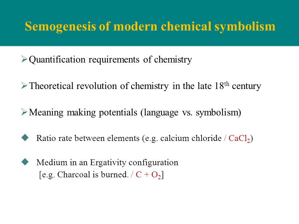 Semogenesis of modern chemical symbolism Quantification requirements of chemistry Theoretical revolution of chemistry in the late 18 th century Meanin