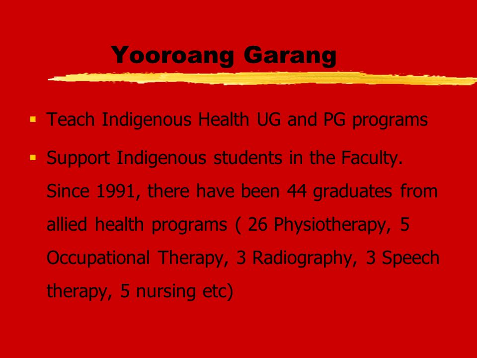 Yooroang Garang Teach Indigenous Health UG and PG programs Support Indigenous students in the Faculty.
