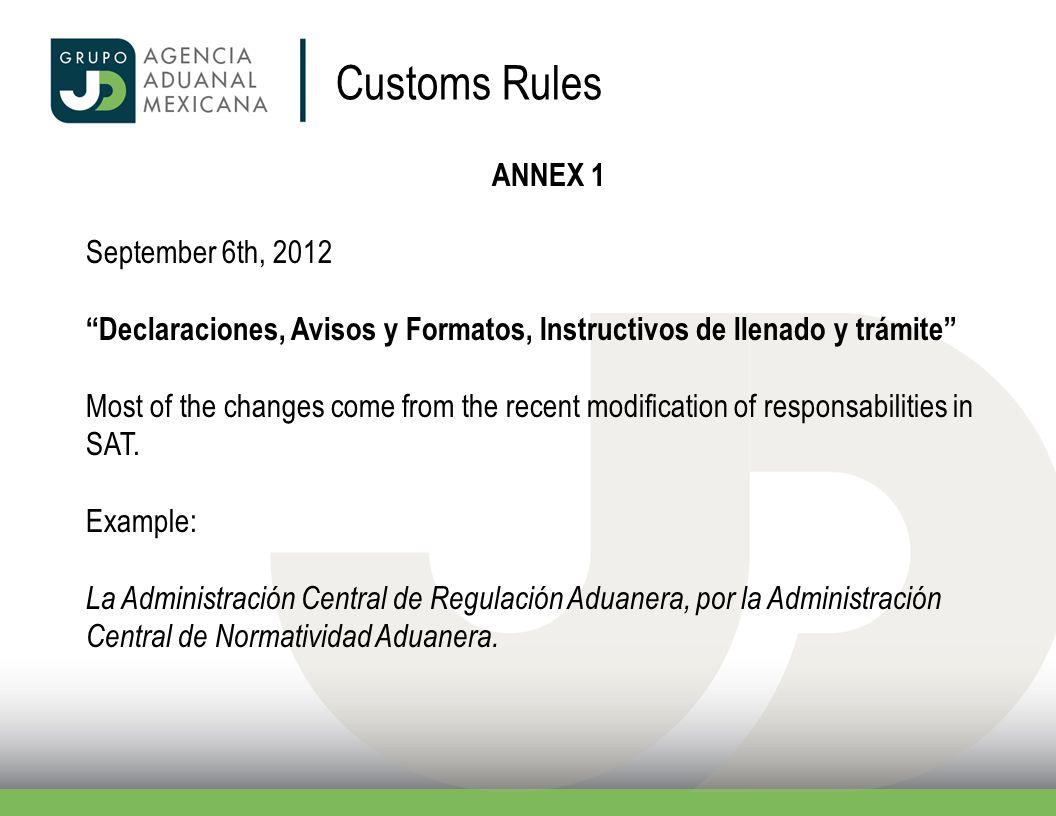 ANNEX 1 September 6th, 2012 Declaraciones, Avisos y Formatos, Instructivos de llenado y trámite Most of the changes come from the recent modification