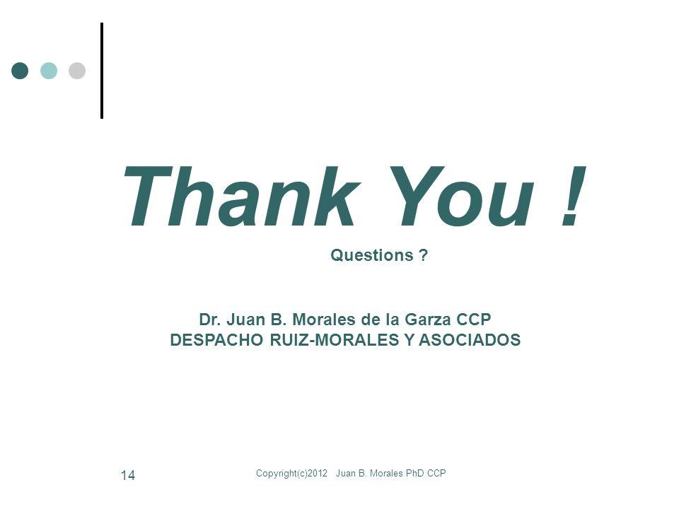 Copyright(c)2012 Juan B. Morales PhD CCP 14 Dr. Juan B.