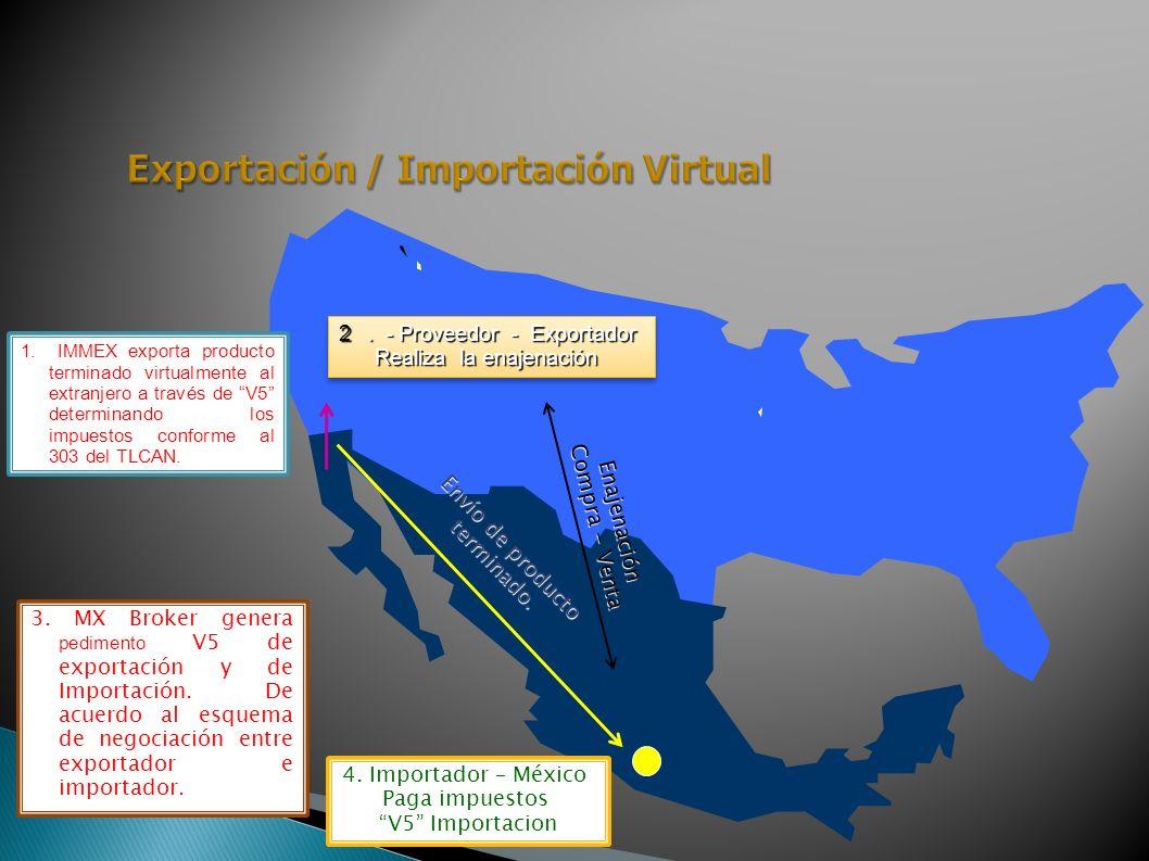 1. IMMEX exporta producto terminado virtualmente al extranjero a través de V5 determinando los impuestos conforme al 303 del TLCAN. 2. - Proveedor - E