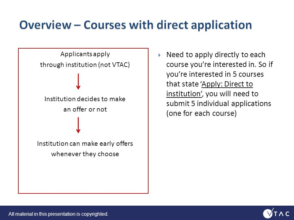 Applicants apply through institution (not VTAC) Institution decides to make an offer or not Institution can make early offers whenever they choose Need to apply directly to each course youre interested in.
