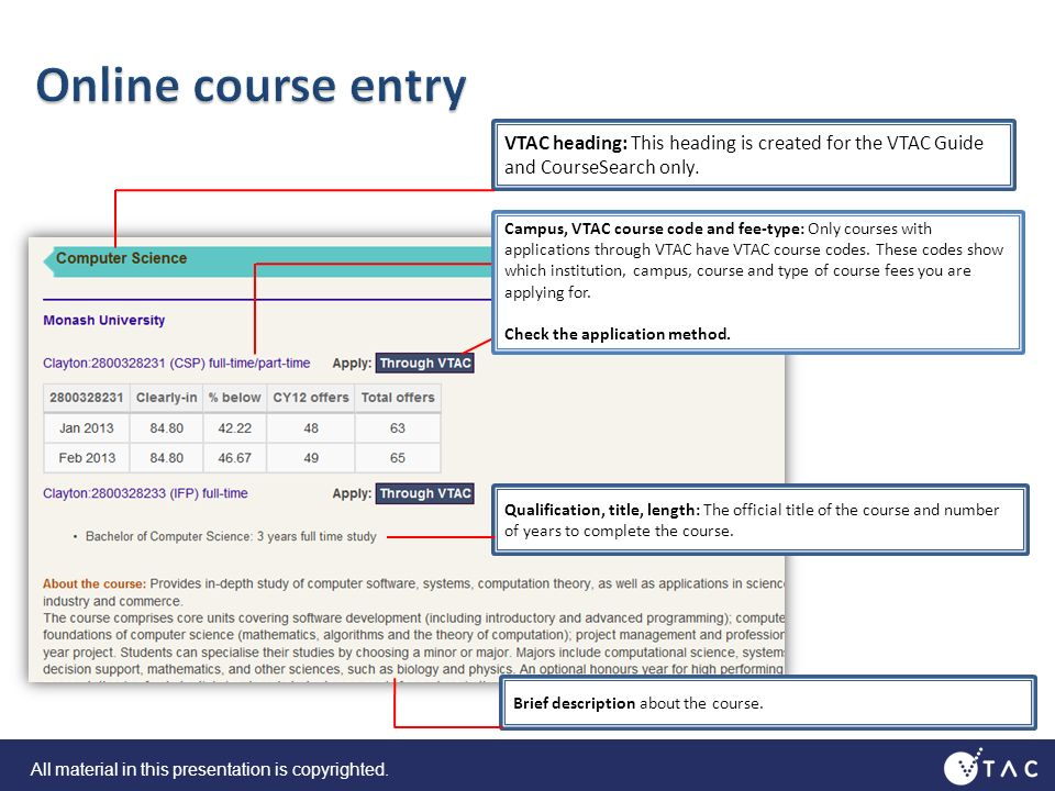 VTAC heading: This heading is created for the VTAC Guide and CourseSearch only.
