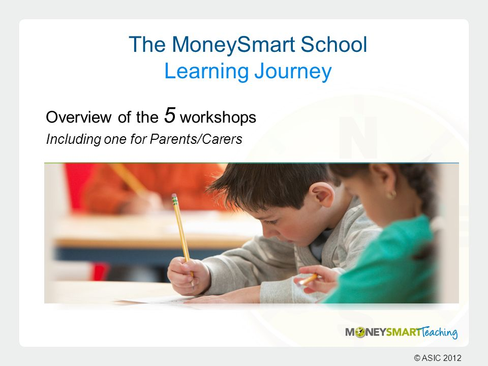 © ASIC 2012 The MoneySmart School Learning Journey Overview of the 5 workshops Including one for Parents/Carers