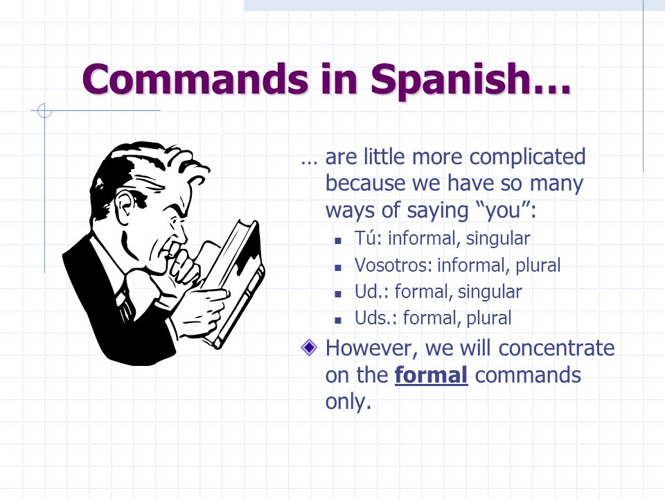Commands in English… … and what they shouldnt do: Dont write in your books! Dont speak English in Spanish class! Dont be silly!