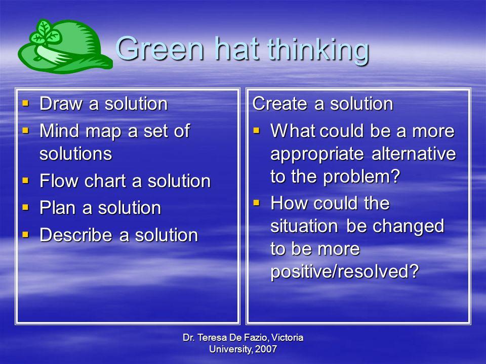 Dr. Teresa De Fazio, Victoria University, 2007 Green hat thinking Draw a solution Draw a solution Mind map a set of solutions Mind map a set of soluti