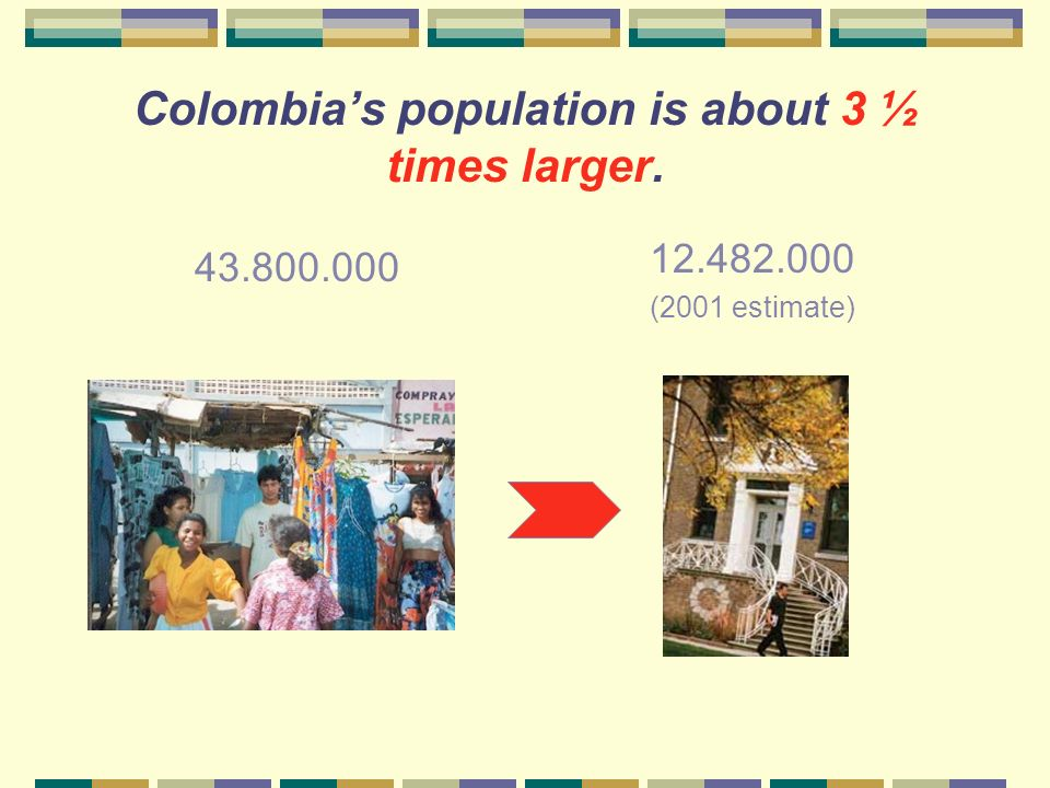 How large is Colombias population compared to that of Illinois?