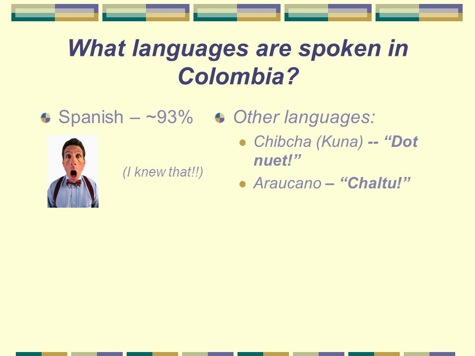 Colombias population is about 3 ½ times larger. 43.800.000 12.482.000 (2001 estimate)