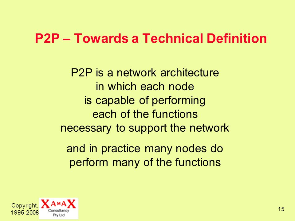 Copyright, 1995-2008 15 P2P – Towards a Technical Definition P2P is a network architecture in which each node is capable of performing each of the fun