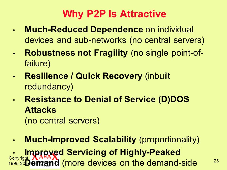 Copyright, 1995-2008 23 Why P2P Is Attractive Much-Reduced Dependence on individual devices and sub-networks (no central servers) Robustness not Fragi
