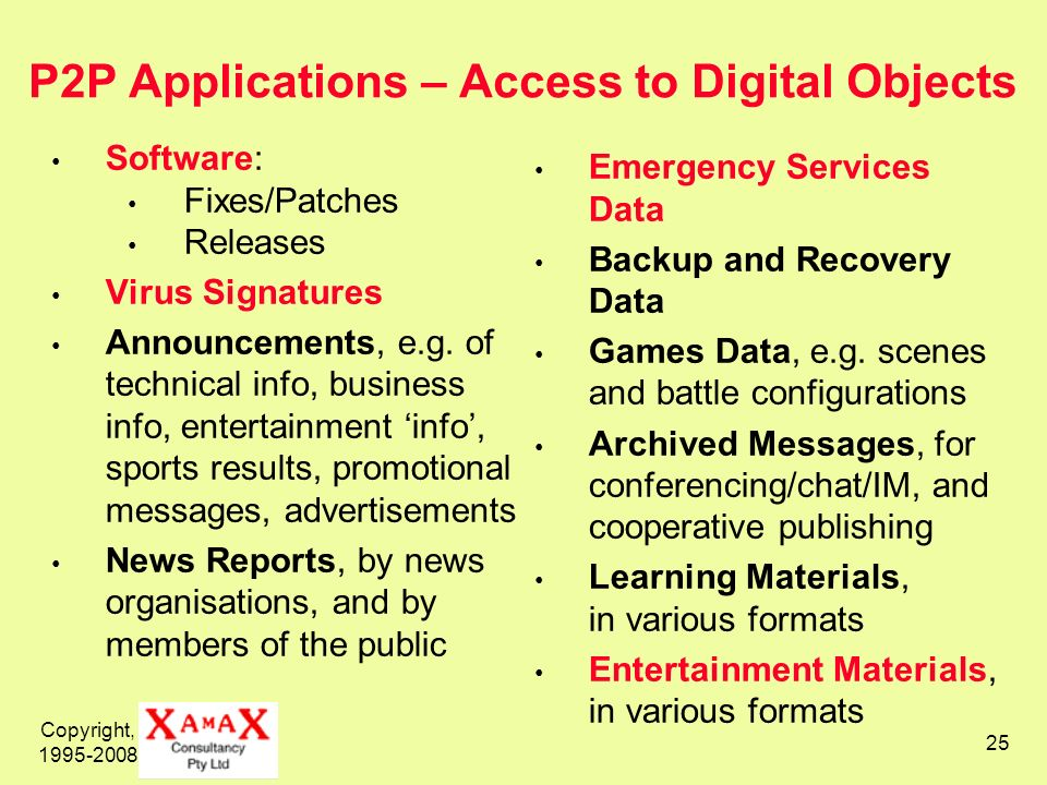 Copyright, 1995-2008 25 P2P Applications – Access to Digital Objects Software: Fixes/Patches Releases Virus Signatures Announcements, e.g. of technica