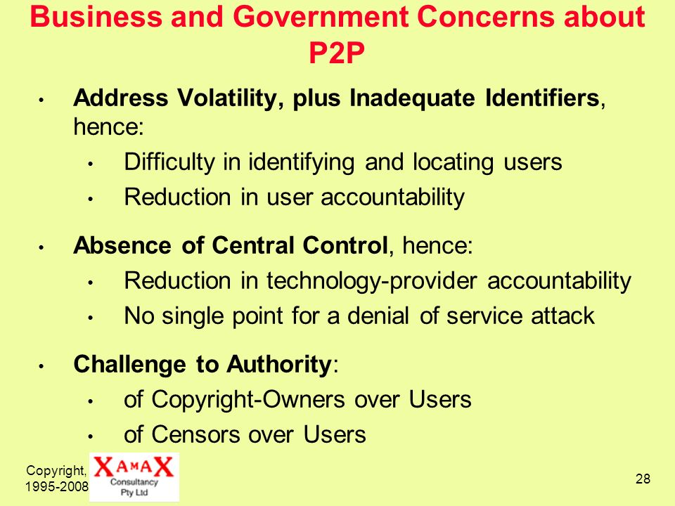 Copyright, 1995-2008 28 Business and Government Concerns about P2P Address Volatility, plus Inadequate Identifiers, hence: Difficulty in identifying a