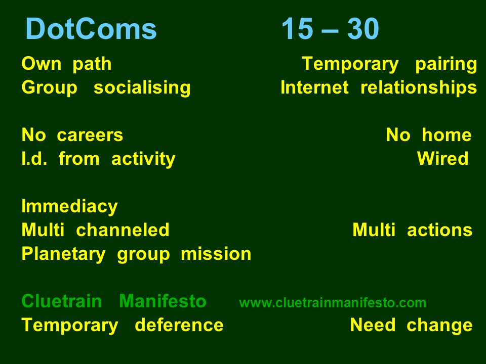 DotComs 15 – 30 Own path Temporary pairing Group socialising Internet relationships No careers No home I.d. from activity Wired Immediacy Multi channe