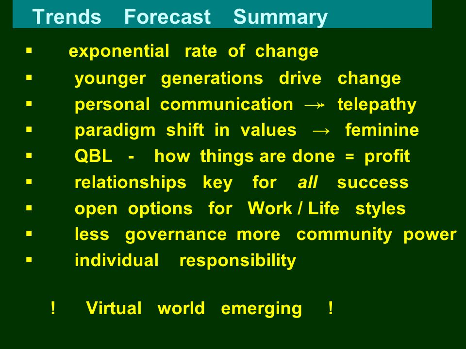 Trends Forecast Summary exponential rate of change younger generations drive change personal communication telepathy paradigm shift in values feminine
