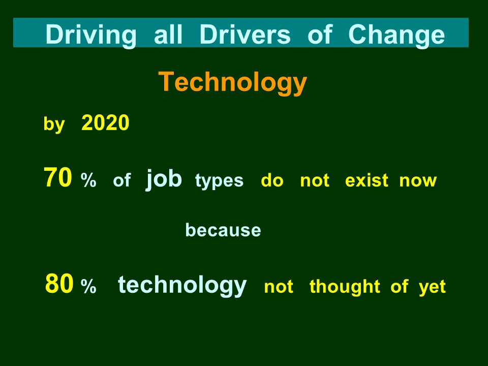 Driving all Drivers of Change Technology by 2020 70 % of job types do not exist now because 80 % technology not thought of yet