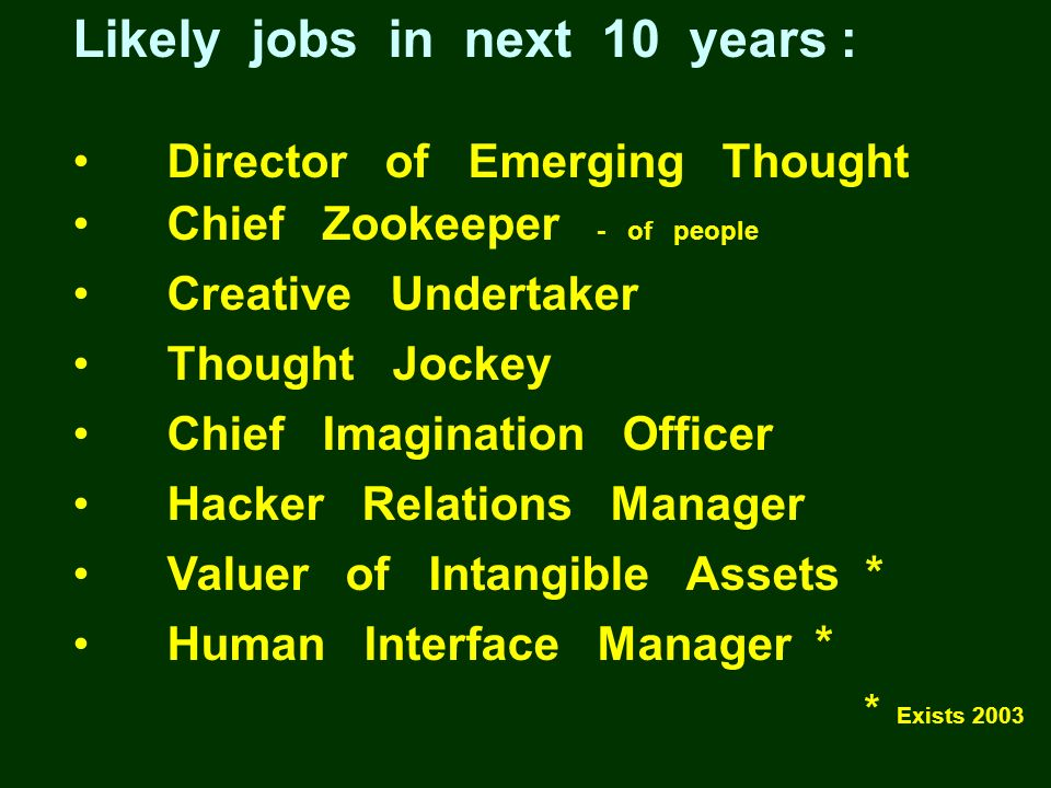 Likely jobs in next 10 years : Director of Emerging Thought Chief Zookeeper - of people Creative Undertaker Thought Jockey Chief Imagination Officer H