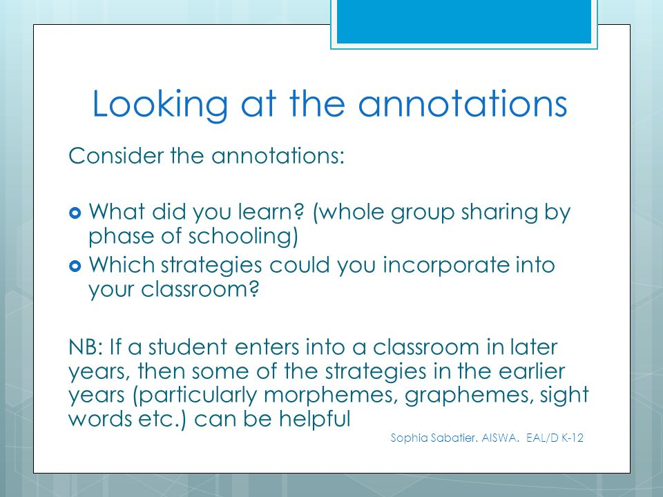 Looking at the annotations Consider the annotations: What did you learn? (whole group sharing by phase of schooling) Which strategies could you incorp