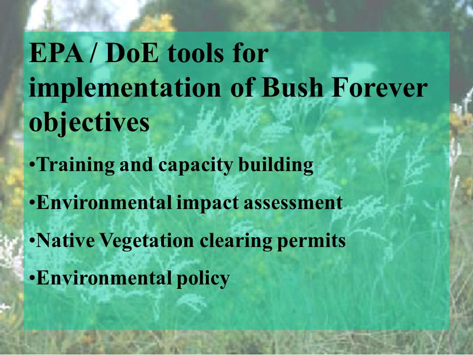 EPA / DoE tools for implementation of Bush Forever objectives Training and capacity building Environmental impact assessment Native Vegetation clearing permits Environmental policy
