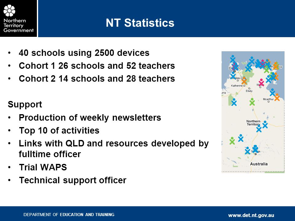 DEPARTMENT OF EDUCATION AND TRAINING www.det.nt.gov.au NT Statistics 40 schools using 2500 devices Cohort 1 26 schools and 52 teachers Cohort 2 14 sch