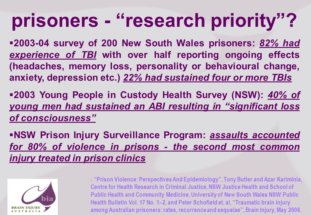 Brain Injury Network of South Australia AGM, 2008 11 Click to edit Master title style Click to edit Master subtitle style 11/16/2013 Brain Injury Network of South Australia AGM, 2008 11 prisoners - research priority.