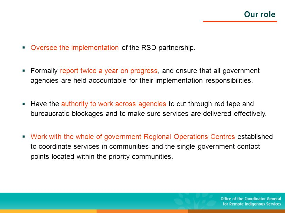 Oversee the implementation of the RSD partnership. Formally report twice a year on progress, and ensure that all government agencies are held accounta