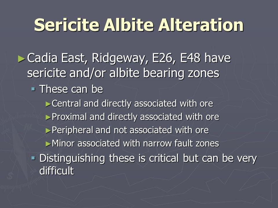 Sericite Albite Alteration Cadia East, Ridgeway, E26, E48 have sericite and/or albite bearing zones Cadia East, Ridgeway, E26, E48 have sericite and/o