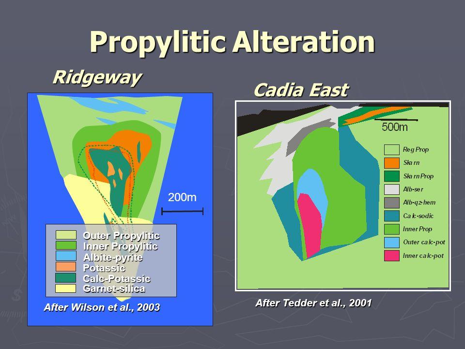 Propylitic Alteration After Tedder et al., 2001 200m After Wilson et al., 2003 Potassic Calc-Potassic Inner Propylitic Outer Propylitic Garnet-silica