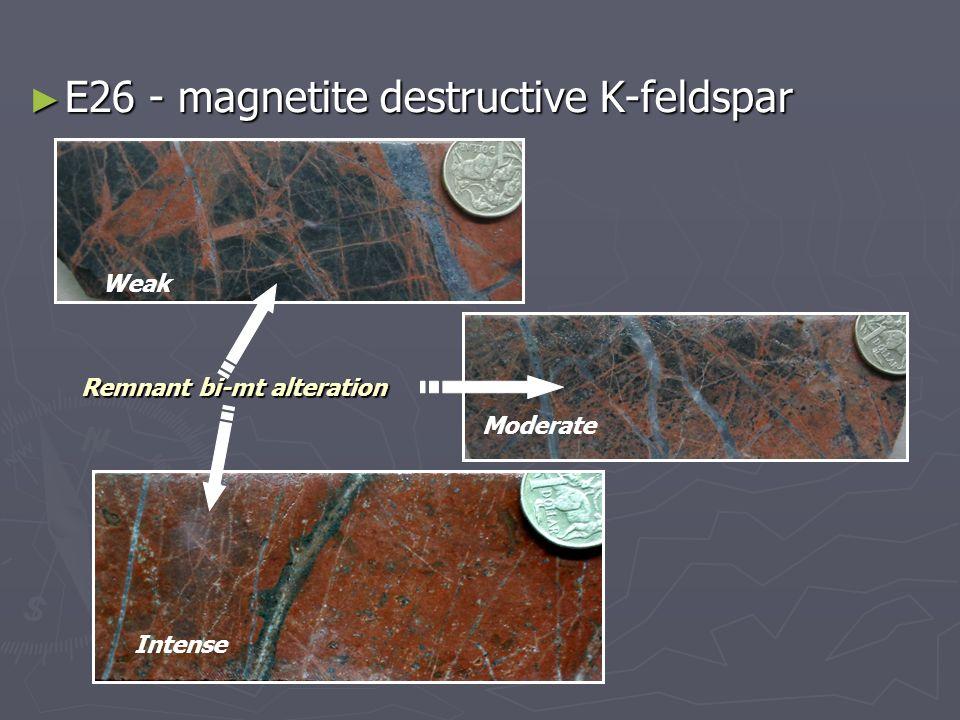 E26 - magnetite destructive K-feldspar E26 - magnetite destructive K-feldspar Weak Moderate Intense Remnant bi-mt alteration