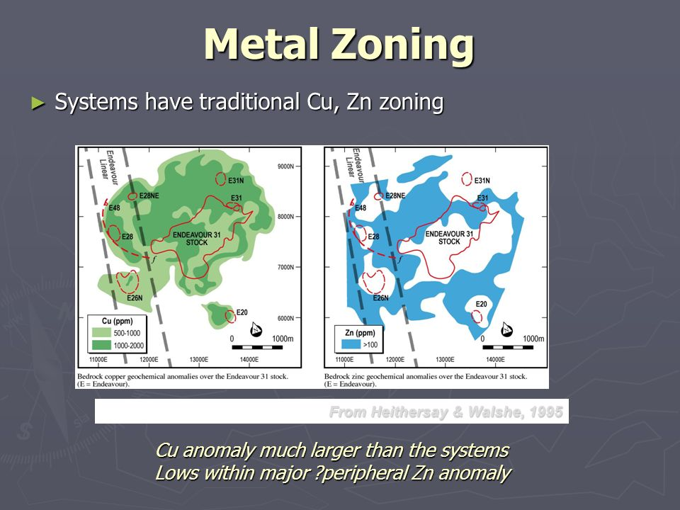 Metal Zoning Systems have traditional Cu, Zn zoning Systems have traditional Cu, Zn zoning Cu anomaly much larger than the systems Lows within major ?