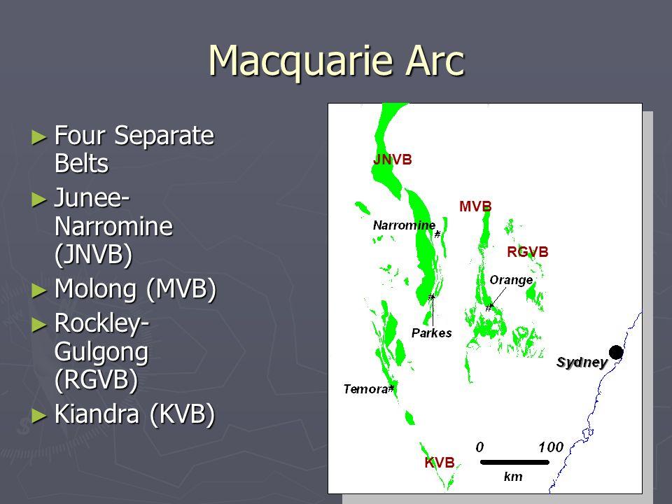 Macquarie Arc Four Separate Belts Four Separate Belts Junee- Narromine (JNVB) Junee- Narromine (JNVB) Molong (MVB) Molong (MVB) Rockley- Gulgong (RGVB