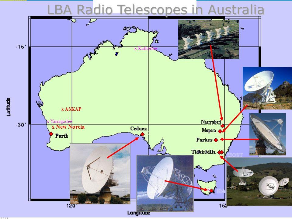 New Radio Telescopes - Auscope AuScope VLBI Project http://www-ra.phys.utas.edu.au/auscope/ 3 new antennas Geodetic/astrometric VLBI observations – IVS Advanced construction