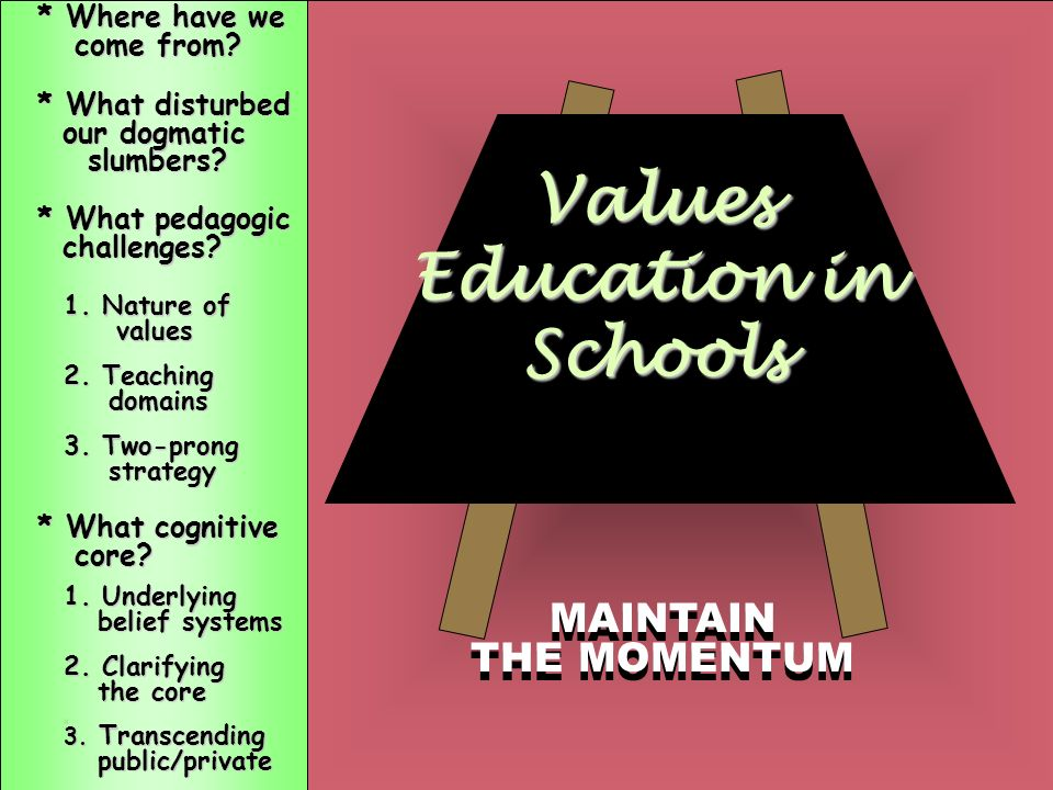 3. Transcending the public/private dichotomy Values Education in Schools 1. Nature of values 2. Teaching domains domains 3. Two-prong strategy strateg