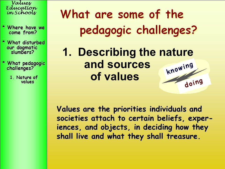 Values Education in Schools * What disturbed our dogmatic our dogmatic slumbers? slumbers? * Where have we come from? come from? What disturbed our do