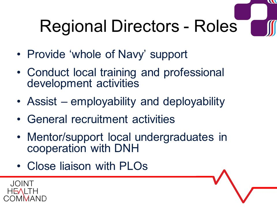 Regional Directors - Roles Provide whole of Navy support Conduct local training and professional development activities Assist – employability and deployability General recruitment activities Mentor/support local undergraduates in cooperation with DNH Close liaison with PLOs