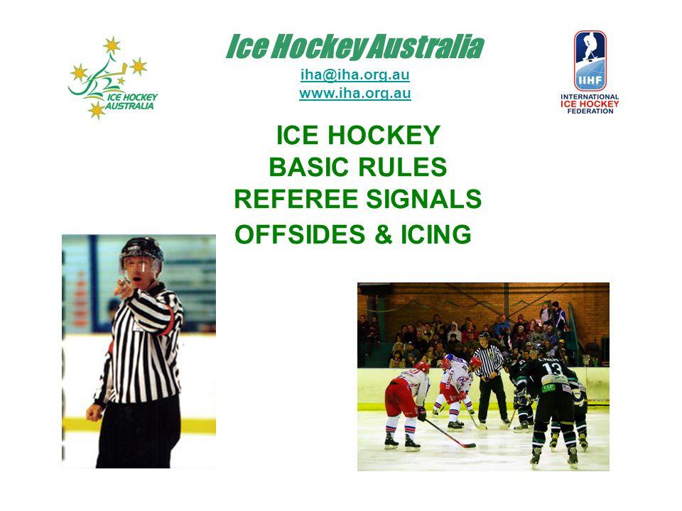 Ice Hockey Australia iha@iha.org.au www.iha.org.au ICE HOCKEY BASIC RULES REFEREE SIGNALS OFFSIDES & ICING