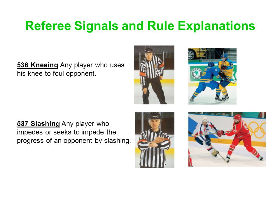 Referee Signals and Rule Explanations 536 Kneeing Any player who uses his knee to foul opponent. 537 Slashing Any player who impedes or seeks to imped