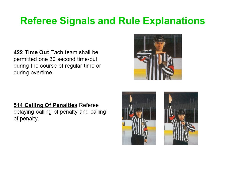 Referee Signals and Rule Explanations 422 Time Out Each team shall be permitted one 30 second time-out during the course of regular time or during ove